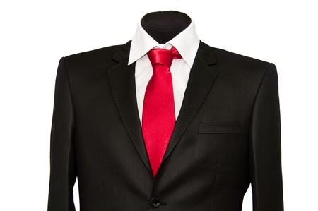 jacket and tie on a white background