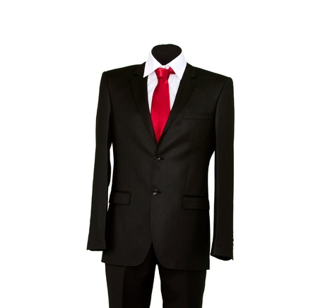 coat and tie: jacket and red tie on a white background
