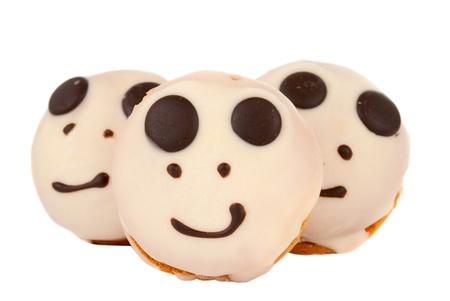 decoracion de pasteles: torta sonriente aislados sobre fondo blanco Foto de archivo