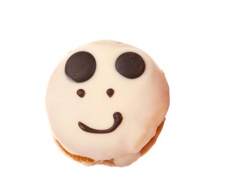 smiley cake isolated on white background photo