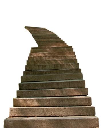 stair: stenen trap is geïsoleerd op een witte achtergrond
