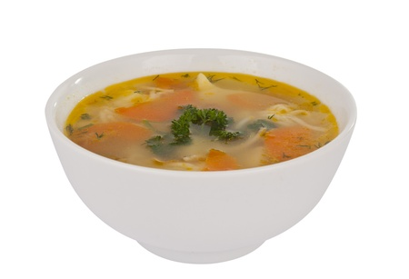 broth: soup isolated on white background Stock Photo