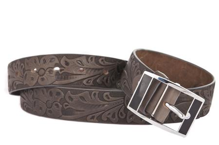 Women's leather belt isolated on white background Stock Photo - 13846588