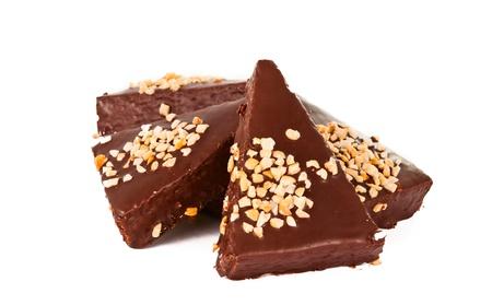 Mini chocolate cake bar isolated on white photo