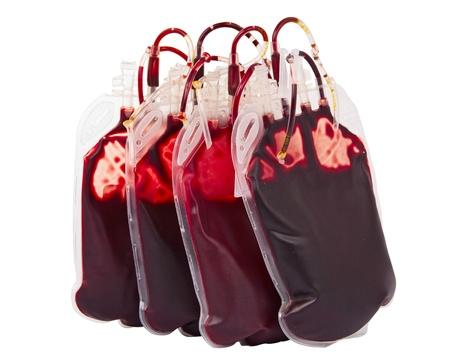 血、白い背景で隔離の袋
