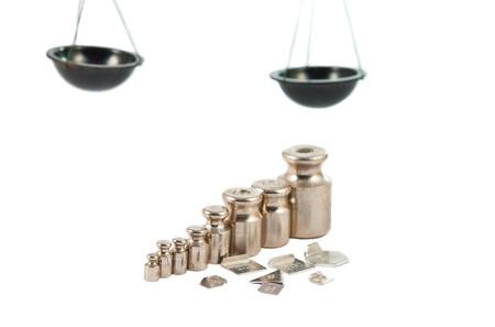 laboratory balance: set di pesi di precisione per una bilancia