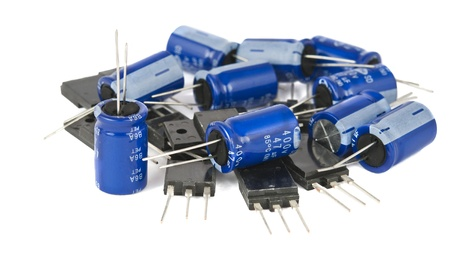 capacitors: capacitors are isolated on a white background