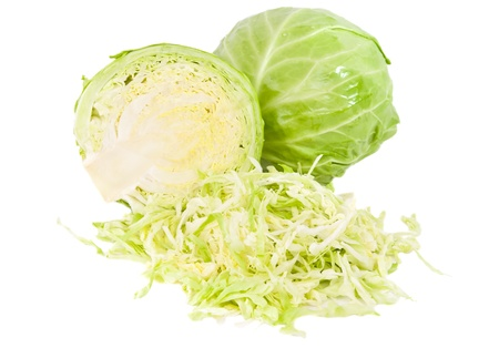 fresh green cabbage with cut isolated on white background Stock Photo - 14048938