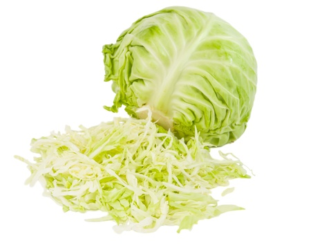 fresh green cabbage with cut isolated on white background