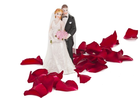 A wedding couple made of plastic, models for wedding cake, isolated on white background photo