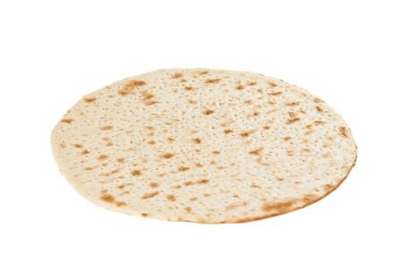 pizza base: Raw pizza base, isolated on white background Stock Photo