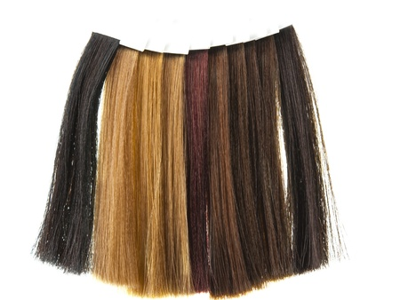 extensions: hair samples of different colors Stock Photo