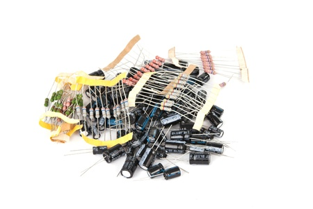 capacitor: capacitor bunch on a white background