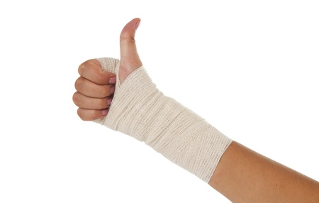 articulation: Hand tied elastic bandage on a white background