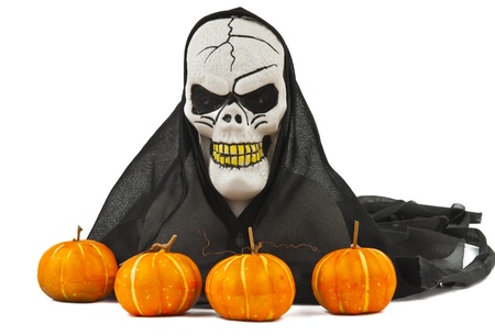 Halloween skull and pumpkin decoration photo