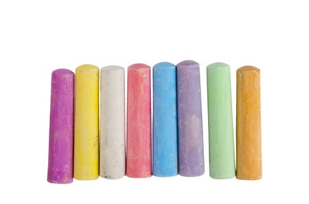 chalky: chalks in a variety of colors arranged on a white background Stock Photo