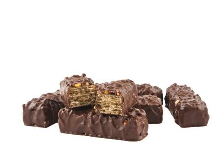 chocolate waffles isolated on white background photo