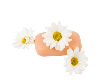 soap with flowers on a white background of isolation Stock Photo - 16433223