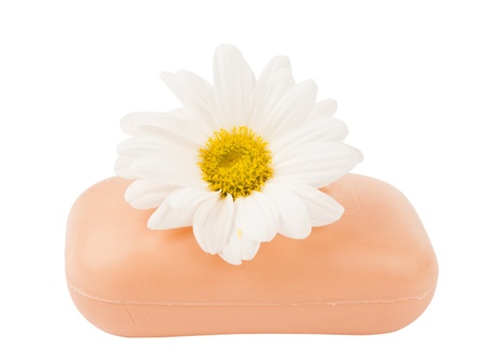 soap with flowers on a white background of isolation Stock Photo - 16433236