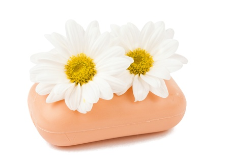 similar images preview: soap with flowers on a white background of isolation