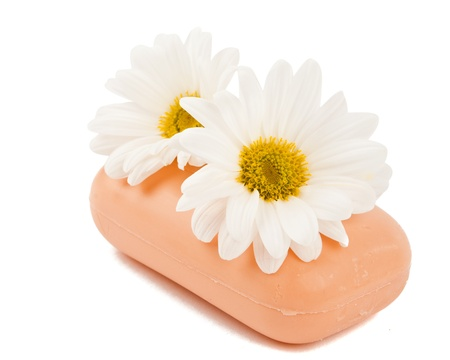 soap with flowers on a white background of isolation Stock Photo - 16433242