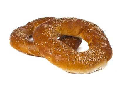 Bagel with sesame seeds isolated on white background Stock Photo - 16783031
