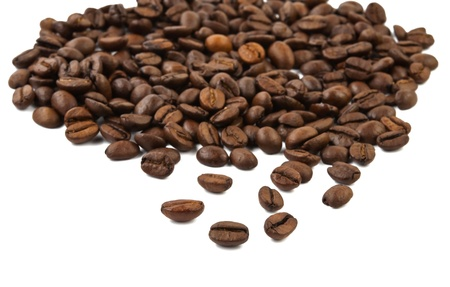 Coffee beans heart on white background Stock Photo - 16782993