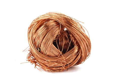 copper wire isolated on white background photo