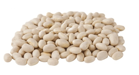 white beans isolated on white background photo