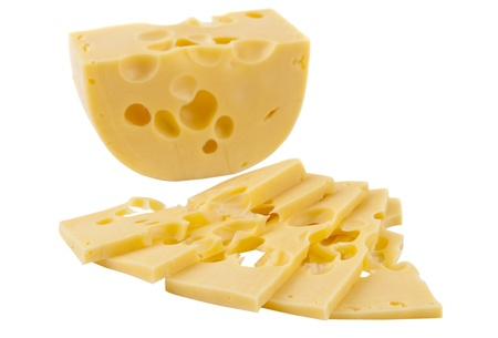 cheez: Dutch cheese isolated on white background Stock Photo