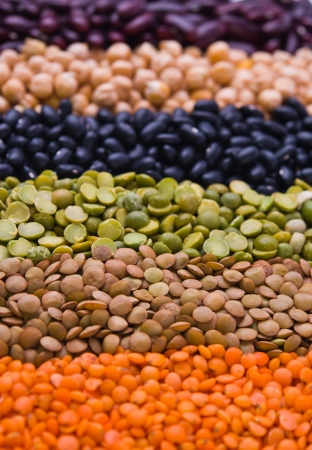 kidney bean, lentil, peas and chick-pea as a background photo