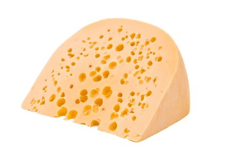 a large piece of cheese isolated on a white background photo