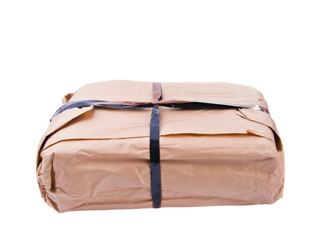 parcel isolated on white background photo