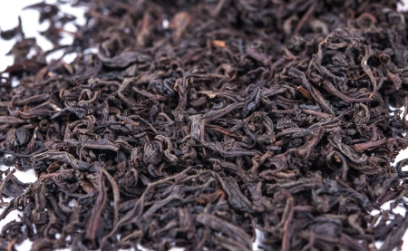 Black tea loose dried tea leaves, marco photo