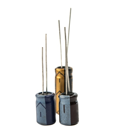 Capacitors: Capacitors isolated on white background Stock Photo