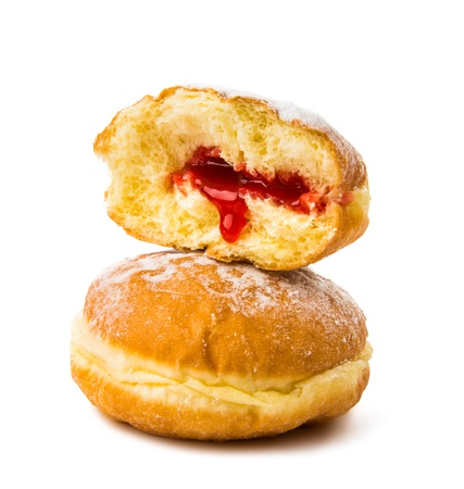 donuts with filling on white background photo