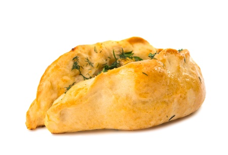 spinage: Puff pastry bun isolated on white background
