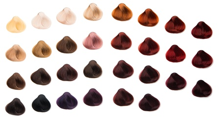brown hair: hair samples of different colors Stock Photo