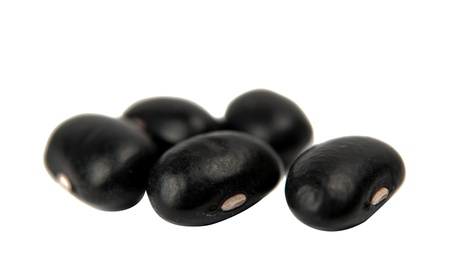 haricot: Black haricot beans isolated on white