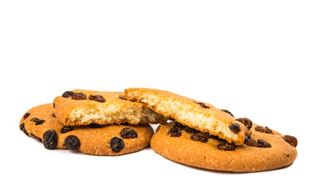cookies with raisins isolated on white background photo