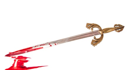 longsword: Sword with blood isolated on white background