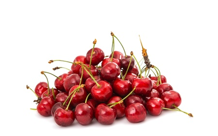 sweet cherries on a white background photo