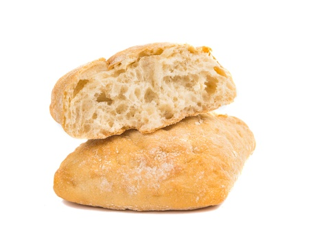 leftover: small Italian bread on a white background Stock Photo
