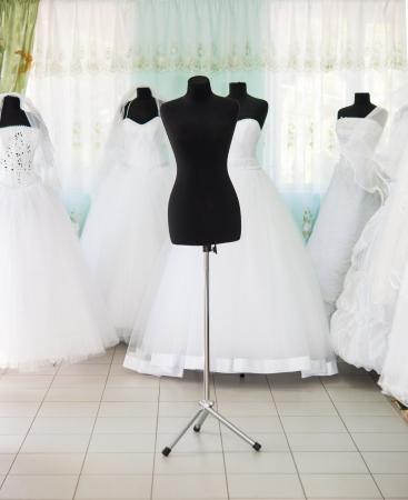 empty black mannequin in a wedding salon