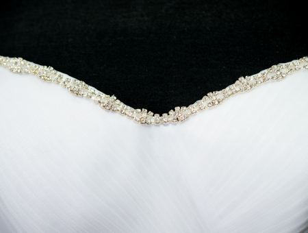 Close up of the wedding dress detail photo