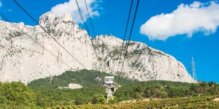 Cable car to Ai-Petri summit, Crimea peninsula, Ukraine photo
