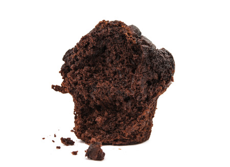 brawn: chocolate muffin isolated on white background, very sweet