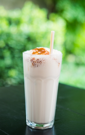 milk shake in the cafe garden photo