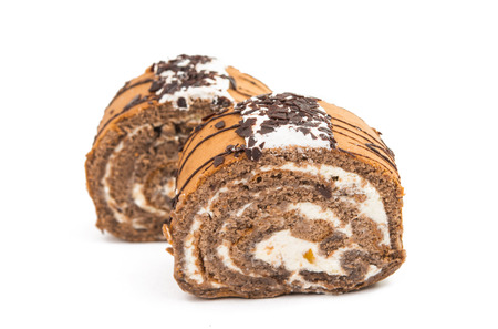Swiss roll cake on a white background photo