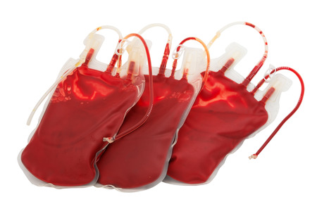 bag of blood isolated on white background photo